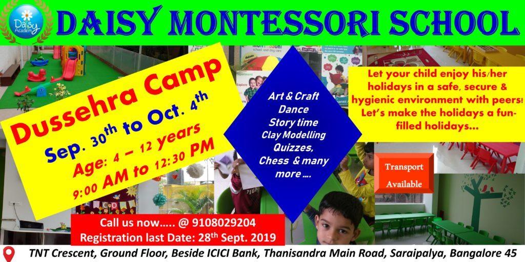 Daisy Montessori Dussehra Camp 2019 Bangalore